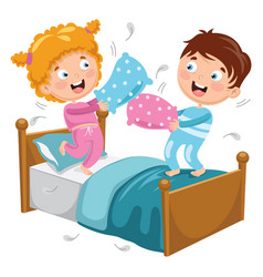 Of kids playing pillow fight vector