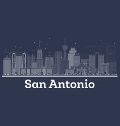 Outline san antonio texas city skyline with white vector