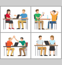 people sitting by table poster vector image