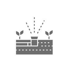 Plant irrigation aquaponics system grey vector