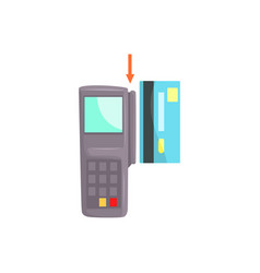 pos terminal and credit card online banking vector image