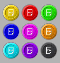 PSD Icon sign symbol on nine round colourful vector image
