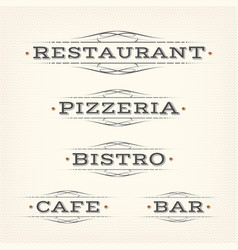 retro restaurant pizzeria and bar banners vector image