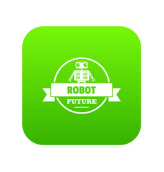 robot tech icon green vector image