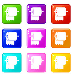 roll of toilet paper on holder icons 9 set vector image