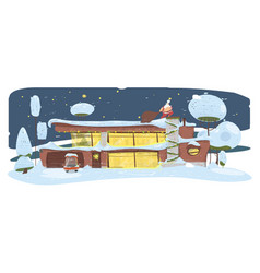 Santa clause with big sack sneaking house roof vector