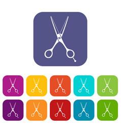 Scissors icons set vector