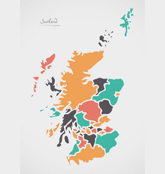 scotland map with states and modern round shapes vector image