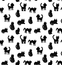 Seamless pattern Black cats silhouettes on white vector image
