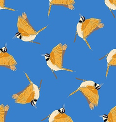 Seamless pattern in blue with bird vector image