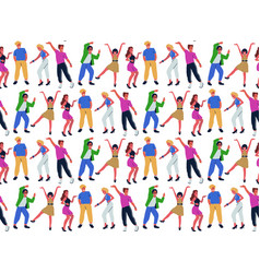 seamless pattern with group young dancing vector image