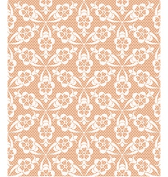 Seamless white lace pattern on beige background vector