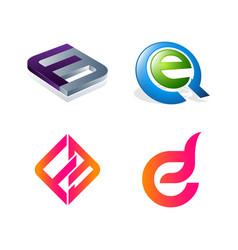 set initial letter fe eq f e symbol vector image