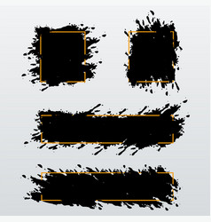 set of trendy bannersheaders of ink brush strokes vector image