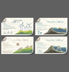 set of vintage renewable energy infographics vector image