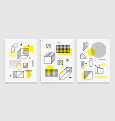 set universal trend posters linear geometri vector image