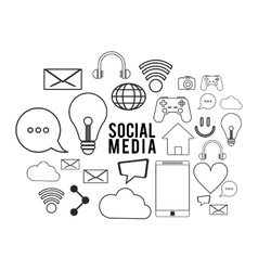 social media black white icon set graphic vector image