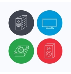 Sound club music and pc case icons vector image