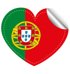 sticker design for portugal in heart shape vector image