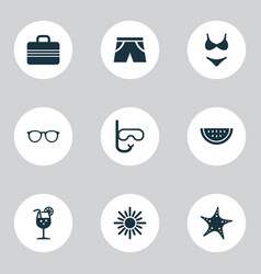Summer icons set collection of tube baggage vector