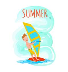 Summer poster windsurfing sport activity vector