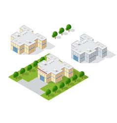 Supermarket shop 3d dimensional building vector