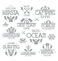 Surfing and camping badges vector