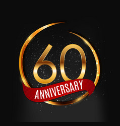 Template gold logo 60 years anniversary with red vector