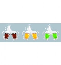 three beer mug vector image