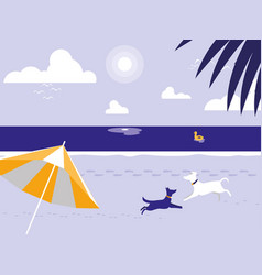 Tropical beach with dogs mascot and umbrella vector