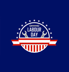 Usa or american labour day banner with wrench vector