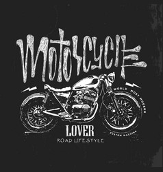 vintage motorcycle hand drawn t-shirt vector image