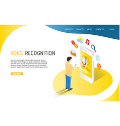Voice recognition landing page website vector