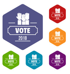 Vote registration icons hexahedron vector