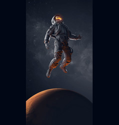 Vr headset astronaut with virtual reality glasses vector