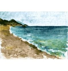 watercolor coast sea vector image