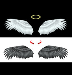 White and black wings angel vector