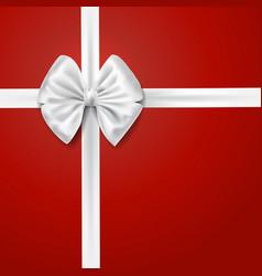 white silky bow ribbon vector image