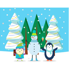 winter character in forest snowman and penguin vector image