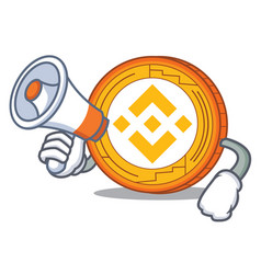 With megaphone binance coin character catoon vector
