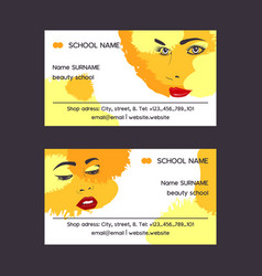 woman face set of business card vector image