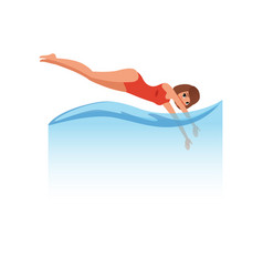 Woman in red swimsuit jumping diving into the vector