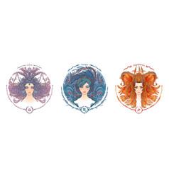 zodiac sign portrait a woman libra scorpio vector image