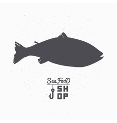 Salmon fish silhouette Seafood shop branding vector image