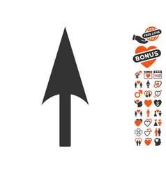 arrow axis y icon with dating bonus vector image vector image