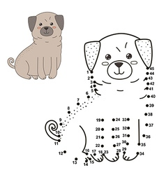 Connect the dots to draw the cute dog vector