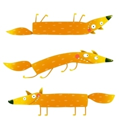 Fox animal character fun cartoon set for kids vector image