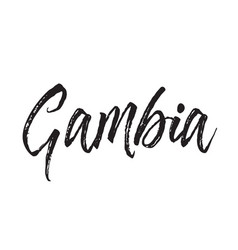 gambia text design calligraphy vector image vector image