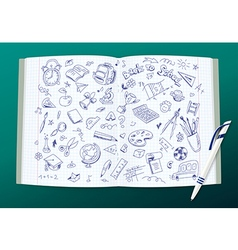 Open copy book with school drawings and a pen vector image