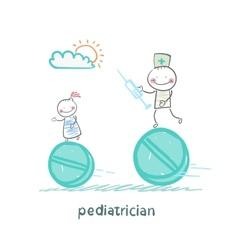 pediatrician pediatrician runs with a syringe vector image vector image
